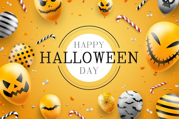 Gelukkig halloween-malplaatje als achtergrond in donker met de ballonspictogrammen van het duivelsgezicht