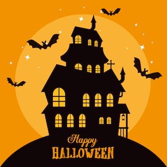Gelukkig halloween met betoverd kasteel