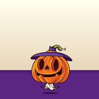 Gelukkig halloween met cartoon heks pompoen op lege witte bewegwijzering