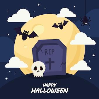 Gelukkig halloween met ernstig ontwerp, vakantie en eng thema.