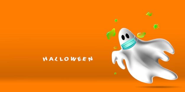 Gelukkig halloween met geest die gezichtsmasker draagt dat beschermt tegen coronavirus of covid-19