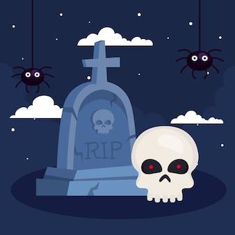Gelukkig halloween met grafsteen, schedel en spinnen