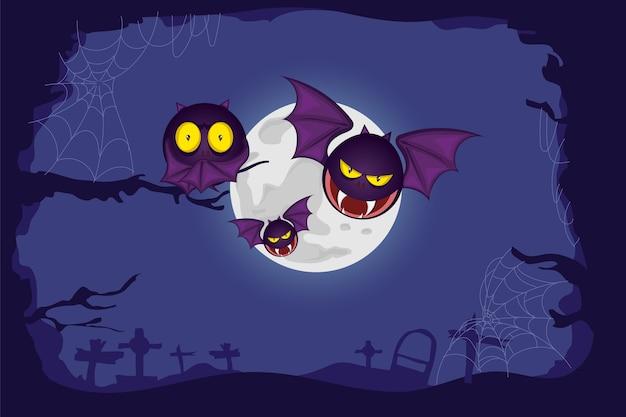 Gelukkig halloween met griezelige vleermuizenachtergrond