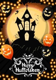 Gelukkig halloween met grote volle maan en oud kasteel op de achtergrond.