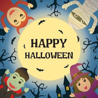 Gelukkig halloween met halloween-monsterkostuum in kerkhof
