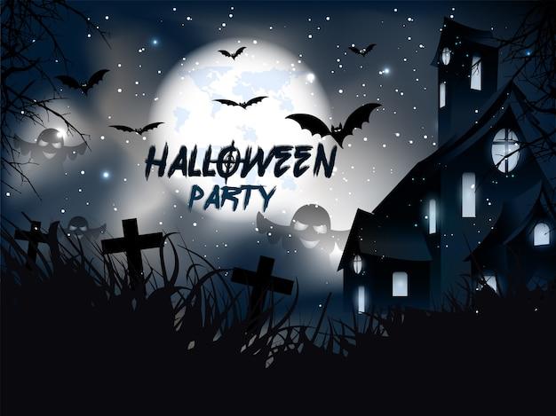 Gelukkig halloween met hounted house en pompoenen binnen en vleermuizen.