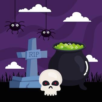 Gelukkig halloween met ketel, grafsteen, schedel en spinnen