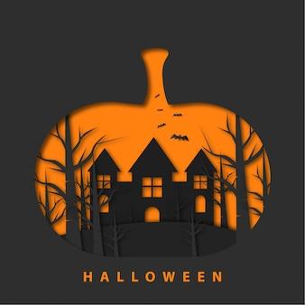 Gelukkig halloween met papercut-stijl