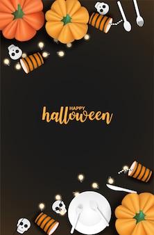 Gelukkig halloween met pompoen en vaatwerk op zwarte achtergrond.
