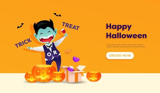 Gelukkig halloween met schattige dracula-tekenfilm, pompoenen en verrassingsgeschenkdoos. feest, winkelposter. halloween promotie verkoop ontwerp voor uitnodiging, spandoek en poster.