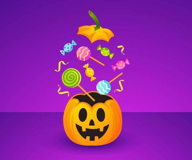 Gelukkig halloween met schattige pompoen en snoep