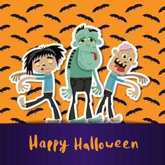 Gelukkig halloween met schattige zombies