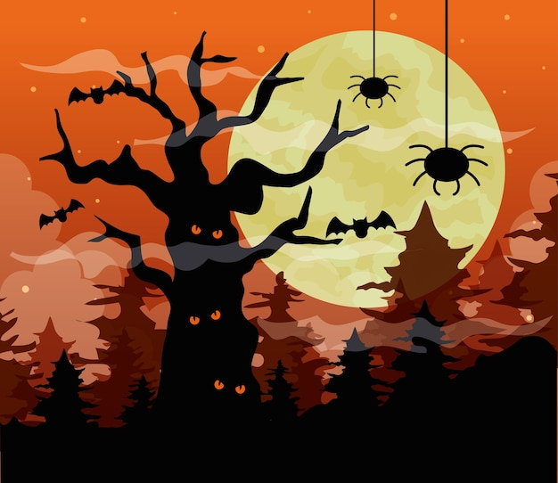 Gelukkig halloween met spookachtige boom en spinnen in donkere nacht