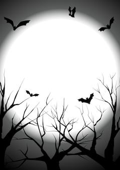 Gelukkig halloween met stierf boom silhouet achtergrond
