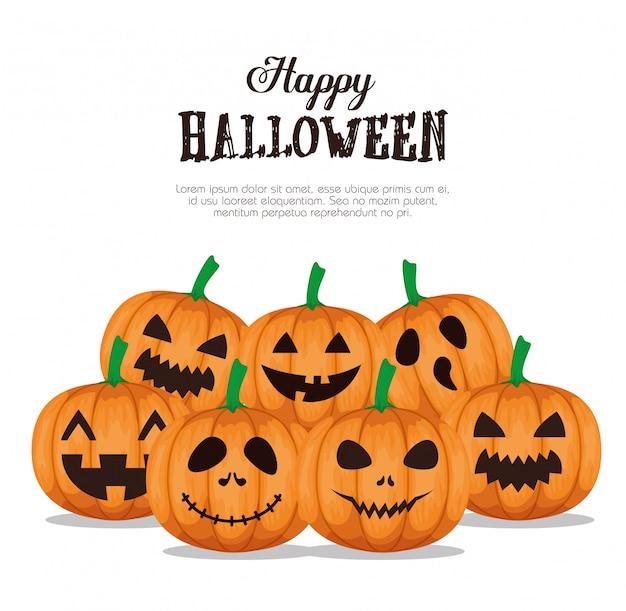Gelukkig halloween met vastgestelde pompoenen