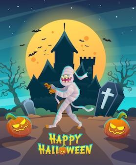 Gelukkig halloween-mummiekarakter met donkere nachtkasteel en maanconceptenillustratie