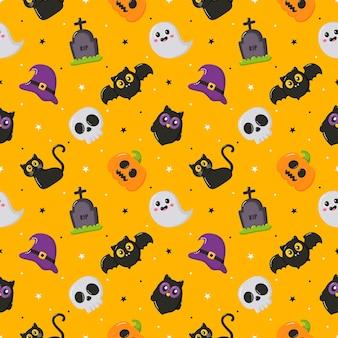 Gelukkig halloween naadloos patroon op gele achtergrond