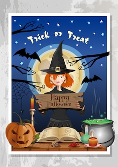Gelukkig halloween-nachtfeest met grappig schattig meisje in heksenkostuum op achtergrond van nachtbos en de volle maan. halloween ontwerp