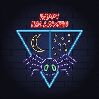 Gelukkig halloween-neonlicht van ontwerp van de spin het hangende vectorillustratie