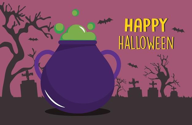 Gelukkig halloween-ontwerp met ketelpictogram over begraafplaatssilhouet en purpere achtergrond