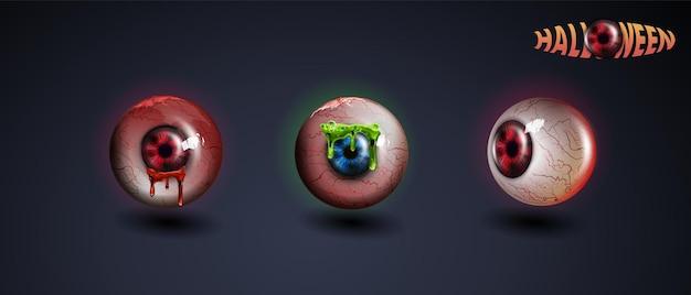 Gelukkig halloween-oog. rood oog. enge bloedige realistische oogbollen. spooky menselijke oogbol met grunge bloed splatter. vector
