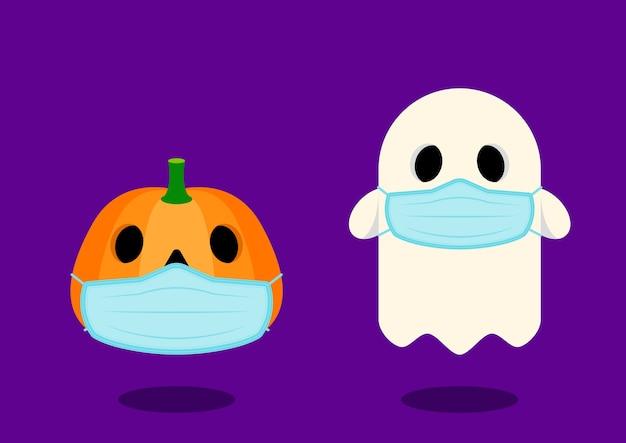 Gelukkig halloween-personage dat een sanitair masker draagt tijdens de covid-19 pandemische situatie platte ontwerpstijl,
