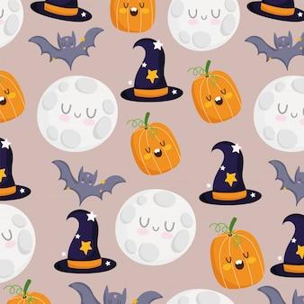 Gelukkig halloween, pompoen vleermuizen maan heksenhoeden trick or treat partij viering achtergrond vectorillustratie
