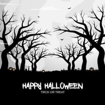 Gelukkig halloween-pompoensilhouet