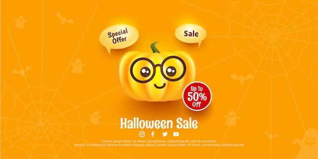 Gelukkig halloween poster en spandoek verkoopsjabloon