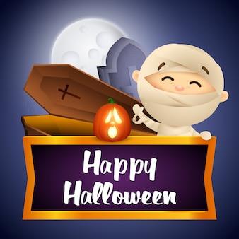Gelukkig halloween-prentbriefkaarontwerp met mama, doodskist en graf