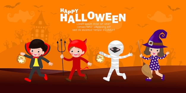 Gelukkig halloween, schattige kleine groepskinderen gekleed in halloween-kostuums om te gaan trick or treating