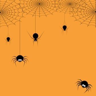 Gelukkig halloween-spinneweb en spinnen voor groetkaart.