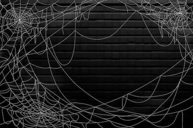 Gelukkig halloween-spinnewebontwerp als achtergrond