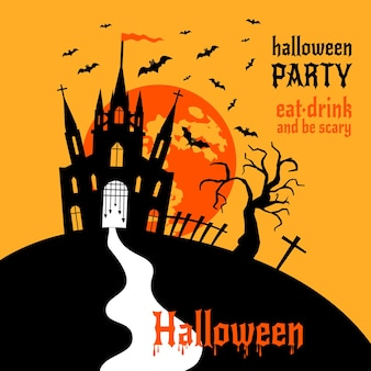 Gelukkig halloween-spookhuis met maan en vleermuizen vectorontwerp
