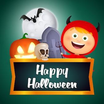 Gelukkig halloween-teken met demonmeisje, doodskist, graf, schedel