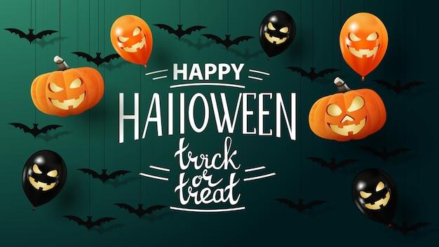 Gelukkig halloween, trick or treat, creatieve wenskaart met vleermuizen, pompoenen en ballonnen