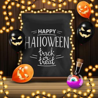 Gelukkig halloween, trick or treat, vierkante wenskaart met schoolbord met mooie letters en halloween-ballonnen