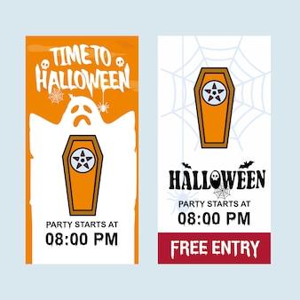 Gelukkig halloween-uitnodigingsontwerp met doodskistvector