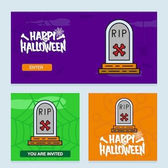 Gelukkig halloween-uitnodigingsontwerp met ernstige vector