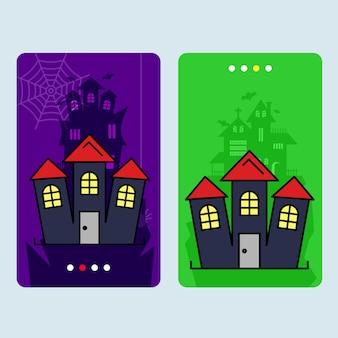 Gelukkig halloween-uitnodigingsontwerp met gejaagde huisvector