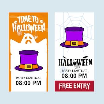 Gelukkig halloween-uitnodigingsontwerp met hoedenvector