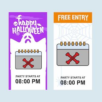 Gelukkig halloween-uitnodigingsontwerp met kalendervector