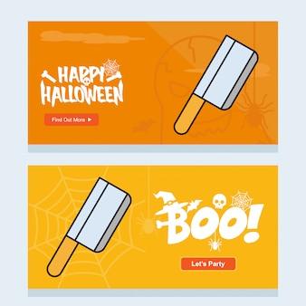 Gelukkig halloween-uitnodigingsontwerp met messenvector