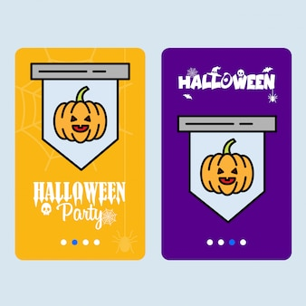 Gelukkig halloween-uitnodigingsontwerp met pompoenvector
