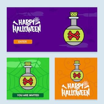 Gelukkig halloween-uitnodigingsontwerp met vergiftvector