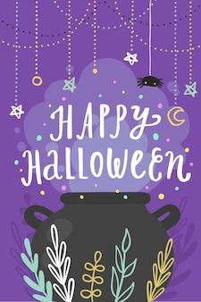 Gelukkig halloween-wenskaart. vector cartoon afbeelding