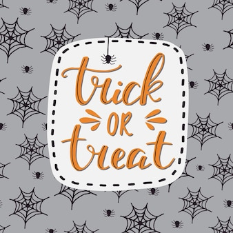 Gelukkig halloween-wenskaart. vector hand getekend schattig illustratie. vakantie decoratie