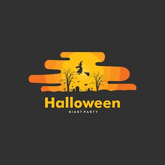 Gelukkig hallowen logo sjabloonontwerp
