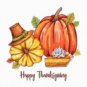 Gelukkig hand getekend thanksgiving achtergrond