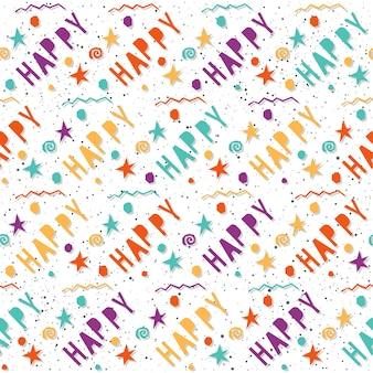 Gelukkig. handgemaakte letters en geometrische hoekige elementen naadloos patroon voor ontwerpkaart, uitnodiging, t-shirt, boek, spandoek, poster, plakboek, album, textielstof, kledingstuk, tasafdruk enz.
